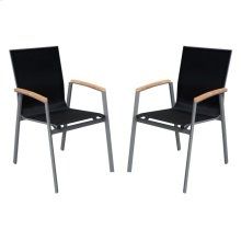 Armen Living Westport Outdoor Patio Dining Chair in Gray Powder Coated Finish with Teak Wood Accent Arms and Mesh Textilene - Set of 2