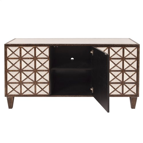 Antiqued Multi-faceted Mirrored Cabinet