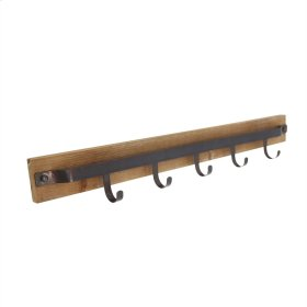 Metal & Wood 5 Hook Wall Hanger, Brown