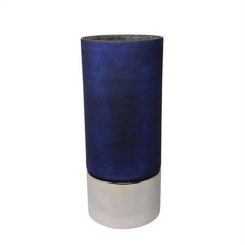 """18.75"""" Glass Hurricane W/metal Base, Blue/silver"""