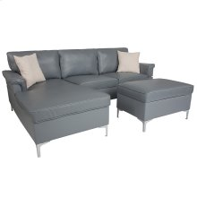 Boylston Upholstered Plush Pillow Back Sectional with Left Side Facing Chaise and Ottoman Set in Gray Leather