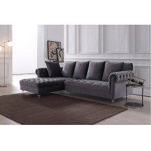 Divani Casa Temple Modern Grey Velvet Sectional Sofa