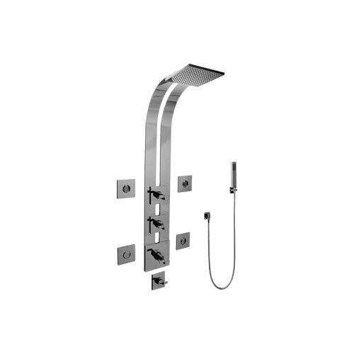 Square Thermostatic Ski Shower Set w/Body Sprays & Handshowers (Trim & Rough)