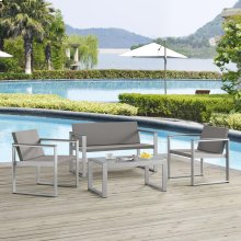 Triumph 4 Piece Outdoor Patio Aluminum Patio Conversation Set in Silver Gray