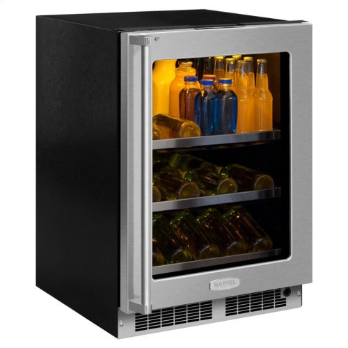 "24"" Beverage Center with Display Wine Rack - Stainless Frame, Glass Door With Lock - Integrated Left Hinge, Professional Handle"