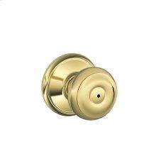 Georgian Knob Bed & Bath Lock - Bright Brass