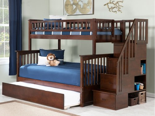 Columbia Staircase Bunk Bed Twin over Full with Urban Trundle Bed in Walnut