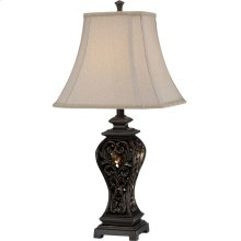 Table Lamp - Aged Brass Finished/fabric Shade, E27 A 150w