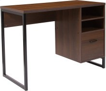 Northbrook Rustic Coffee Wood Grain Finish Computer Desk with Black Metal Frame