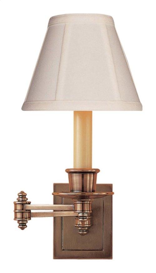 Visual Comfort S2007HAB-T Studio 12 inch 40 watt Hand-Rubbed Antique Brass Swing-Arm Wall Light in Tissue Silk