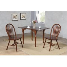 DLU-ADW3448-820-CT3PC  3 Piece Drop Leaf Dining Set  Chestnut with Arrowback Chairs