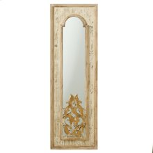 Natural Framed Arch Mirror with Gold Scroll Inlay at Bottom.