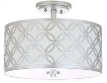 Cecily 3 Light 15-inch Dia Silver Flush Mount - Silver Shade Color: Off-White