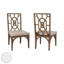 Teak Patio Dining Chair Cushion In White