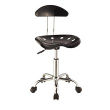 Black & Chrome Adjustable Height Rolling Chair - 2 pcs in 1 carton