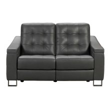 Parker Tufted Leather Power Reclining Loveseat in Storm Grey
