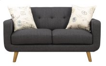 Loveseat Charcoal W/2 Accent Pillows