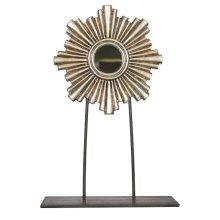 Medium Silver Leaf Iron-wood Mini Mirror On Iron Stand.