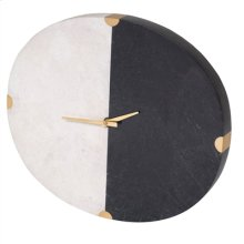 BLACK WAXSTONE AND WHITE AGATE STONE MONA WALL CLOCK WITH SA TINA BRASS ACCENTS