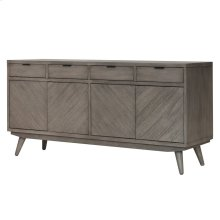 Piero Chevron Buffet 4 Drawers + 4 Doors, Weathered Gray