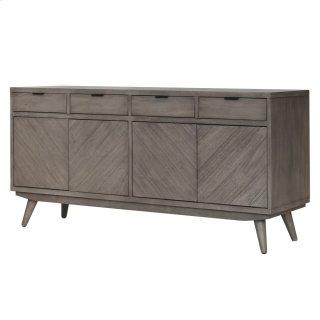 Piero Chevron Buffet 4 Drawers + 4 Doors, Weathered Gray