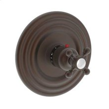"English Bronze 3/4"" Round Thermostatic Trim Plate with Handle"