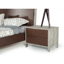 Nova Domus Conner Modern Dark Walnut & Concrete Nightstand