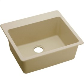 "Elkay Quartz Classic 25"" x 22"" x 9-1/2"", Single Bowl Top Mount Sink, Sand"