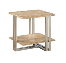 End Table Wood Top & Bottom Shelf W/silver Metal Base
