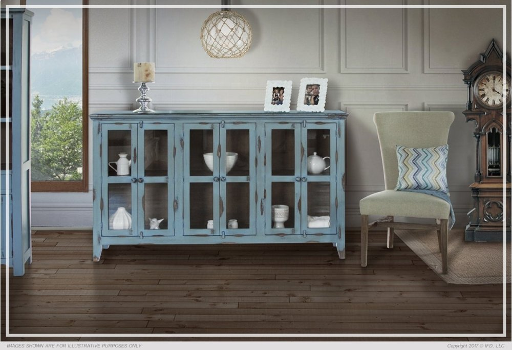 Delicieux Console W/6 Glass Doors, Blue Finish