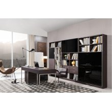 Modrest Ezra Modern Brown Oak and Grey Office Desk w/ Side Cabinet