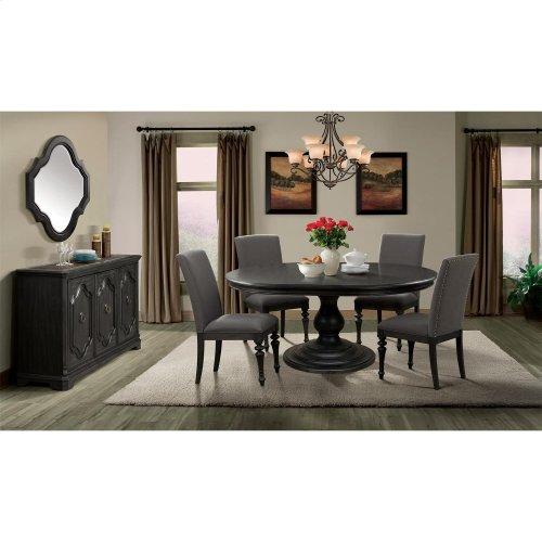 Corinne - Round Pedestal Dining Table Top - Ebonized Acacia Finish
