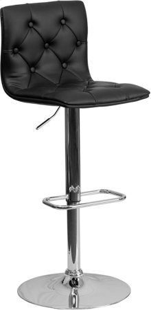 Contemporary Button Tufted Black Vinyl Adjustable Height Barstool with Chrome Base