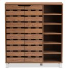 """Baxton Studio Shirley Modern and Contemporary """"Walnut"""" Medium Brown Wood 2-Door Shoe Cabinet with Open Shelves Product Image"""