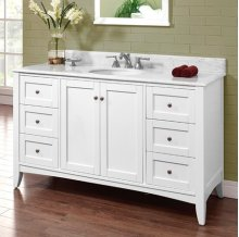 "Shaker Americana 60"" Single Bowl Vanity - Polar White"