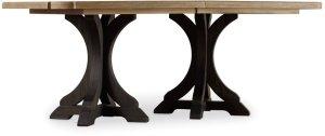 Corsica Dark Rectangle Pedestal Dining Table (Dark Base/Light Top)