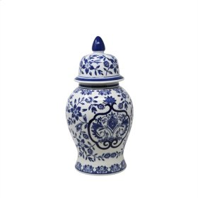 White/blue Temple Jar 14""