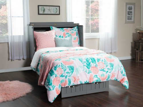 Nantucket Twin Murphy Bed Chest in Atlantic Grey with Charging Station