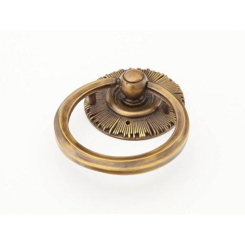 Solid Brass, Symphony, Sunburst, Ring Pull w/backplate, Estate Dover finish
