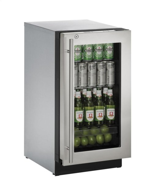 "18"" Glass Door Refrigerator Stainless Frame (Lock) Right-Hand Hinge"