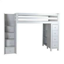 All in One Staircase Loft Bed Storage Grey
