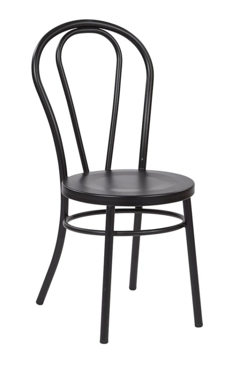 Odessa metal dining chair with backrest in sold black finish ships fully assembled 2