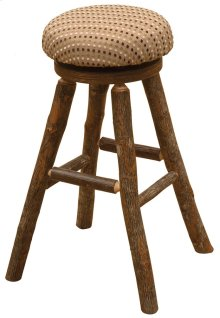 "Round Barstool - 30"" high - Natural Hickory - Standard Fabric"