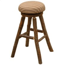 "Round Barstool - 30"" high - Natural Hickory - Standard Leather"