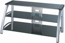 """3-tier TV Stand, Silver Chrome/black Glass, 50""""lx23""""wx23h"""