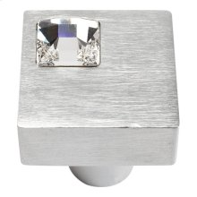 Crystal Off Center Square Knob 1 Inch - Matte Chrome