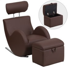 Brown Vinyl Rocking Chair with Storage Ottoman