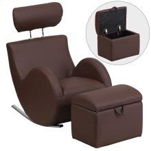 Brown Vinyl Rocking Chair with Storage Ottoman