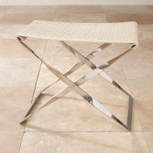 Woven Leather Folding Bench-Ivory
