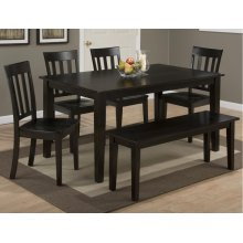 Simplicity Table w/ 4 Slat Back Chairs & Bench